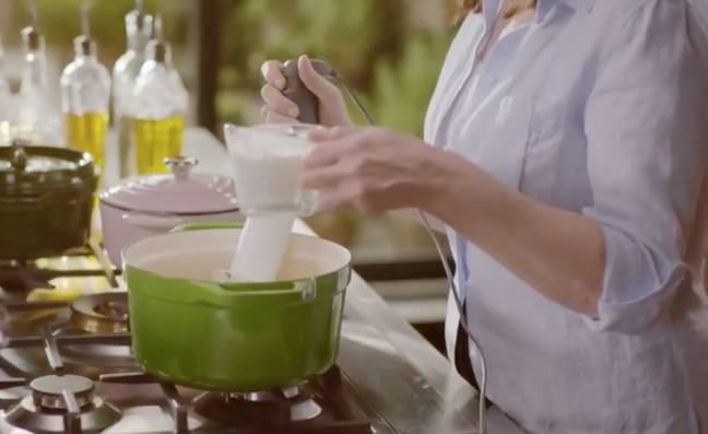 Nigella told fans she'd warmed the milk in the micro-wa-vay (Credit: BBC)