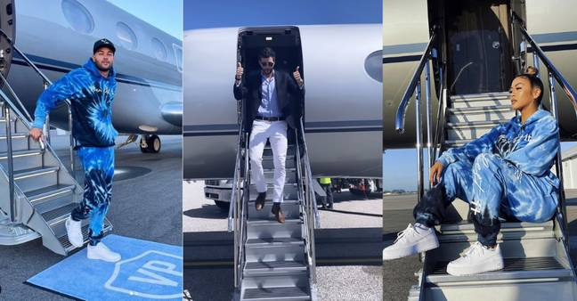 The influencers were flown to St. Barts on a private jet (Credit: Instagram)