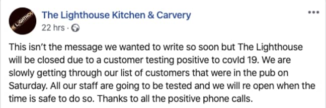 The Lighthouse Kitchen and Carvery posted this message on Facebook (Credit: Facebook/ The Lighthouse Kitchen and Carvery)