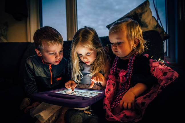 Some 28 per cent of parents said they found their kids playing on a device (Credit: Pexels)