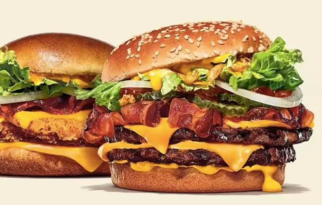 The cheesy bacon chicken (left) and the cheesy bacon double (right) (Credit: Burger King)