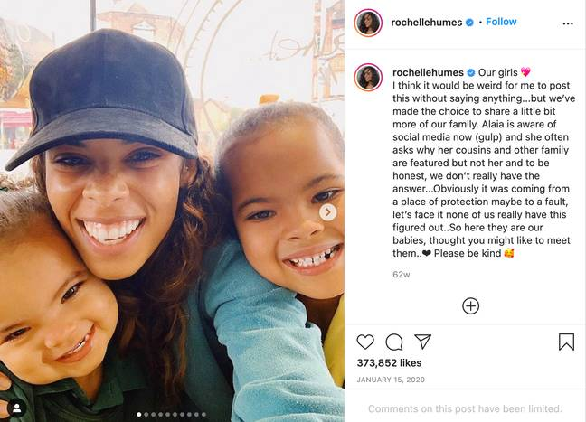 Rochelle shared a picture with their two daughters Alaia and Valentina for the first time in January 2020 (Credit: Rochelle Humes/ Instagram)