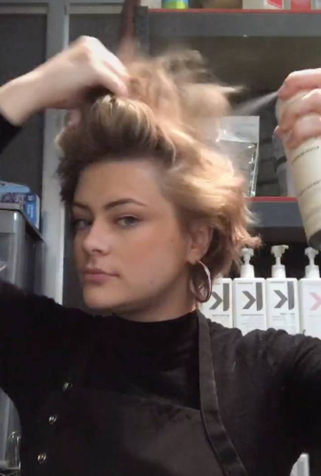First, section off your hair and spray favourite dry shampoo liberally throughout (Credit: TikTok / @corascamera)