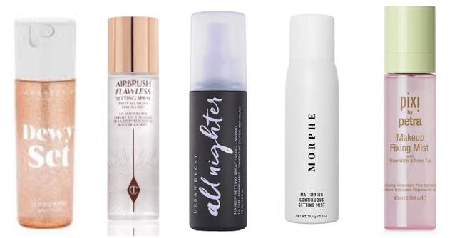 These are the sprays we road-tested (Anastasia Beverly Hills, Charlotte Tilbury, Urban Decay, Morphe, Pixi)