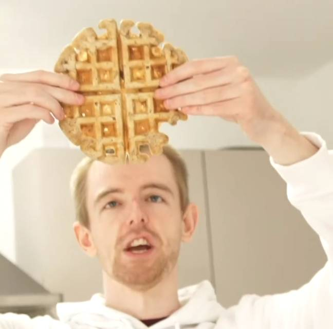 The end result is a crisp and golden sweet-and-savoury waffle (Credit: Caters)
