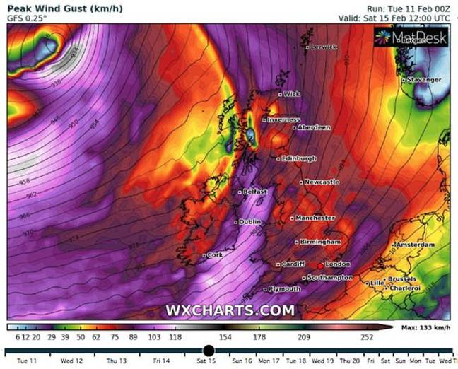 Storm Dennis is set to bring strong winds across England and Wales (Credit: WXCharts)
