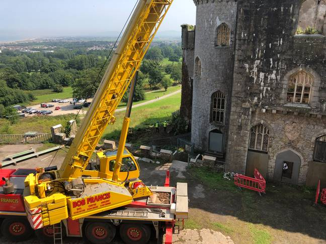 There was some interesting activity at the Welsh castle... (Credit: Caters)