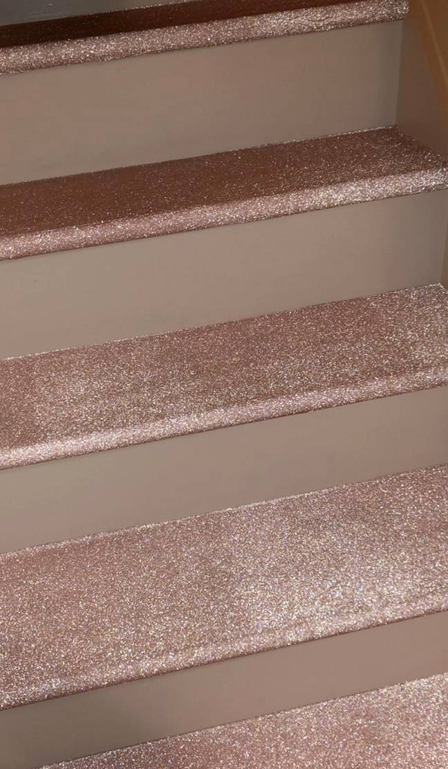 The Fablon helped create the shimmery appearance of Adele's stairs (Credit: Caters)