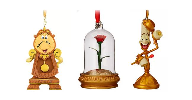 Left to right: Cogsworth, Enchanted Rose and Lumiere baubles (Credit: Disney)