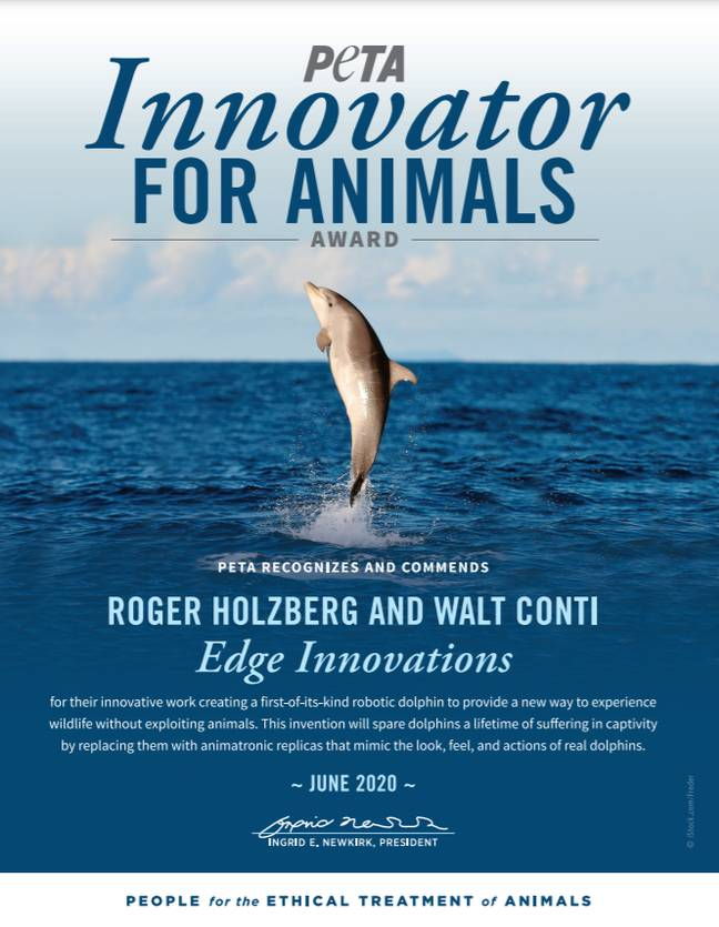 PETA US is sending an Innovator for Animals Award to Roger Holzberg and Walt Conti of Edge Innovations (Credit: PETA)