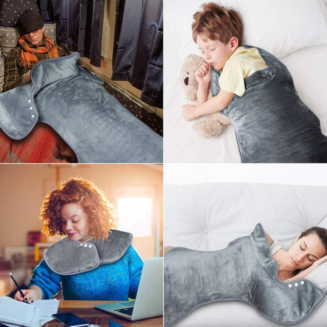 The heating pad can be worn a number of ways (Credit: Amazon)