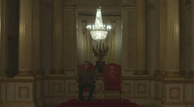 Fagan sat on the royal thrones (Credit: Netflix)