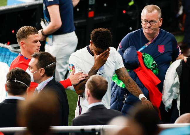 Marcus Rashford was visibly upset for having missed the penalty (Credit: PA Images)