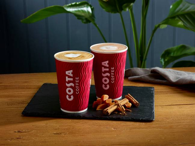 Costa Express Toffee Spiced Latte and Toffee Spiced Hot Chocolate (Credit: Costa)