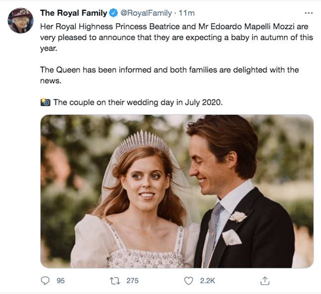 The Royal Family announced the news on social media (Credit: Twitter/ Royal Family/ [Picture: PA])