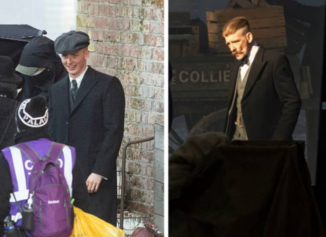Finn and Arthur Shelby on set (Credit: SWNS)