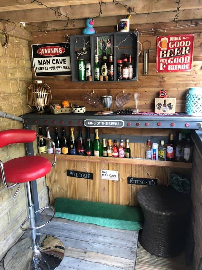 It features shelves stocked with booze and cute fairy lights (Credit: Jaime Lee Carter/Extreme Couponing and Bargains UK Group)