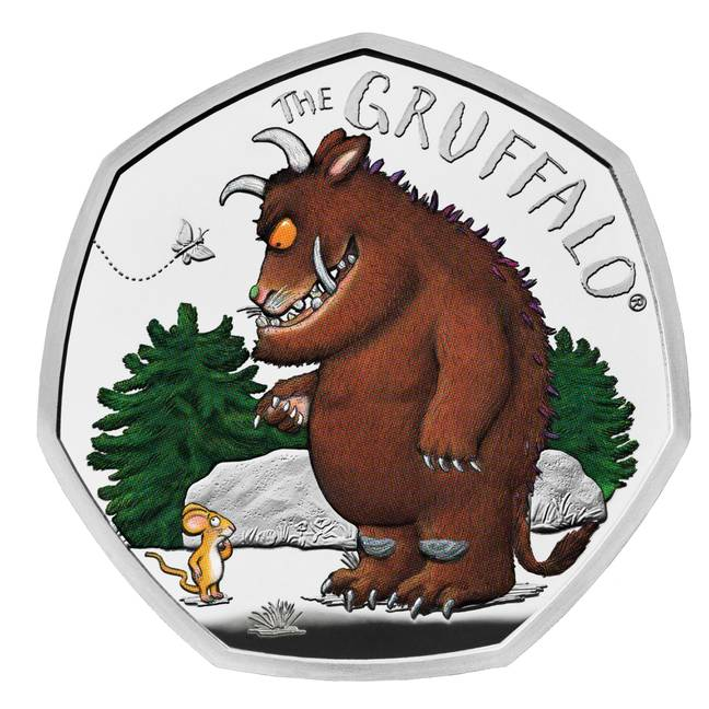 The Gruffalo is pictured meeting Mouse in the woods on the 50p coin Credit: Royal Mint