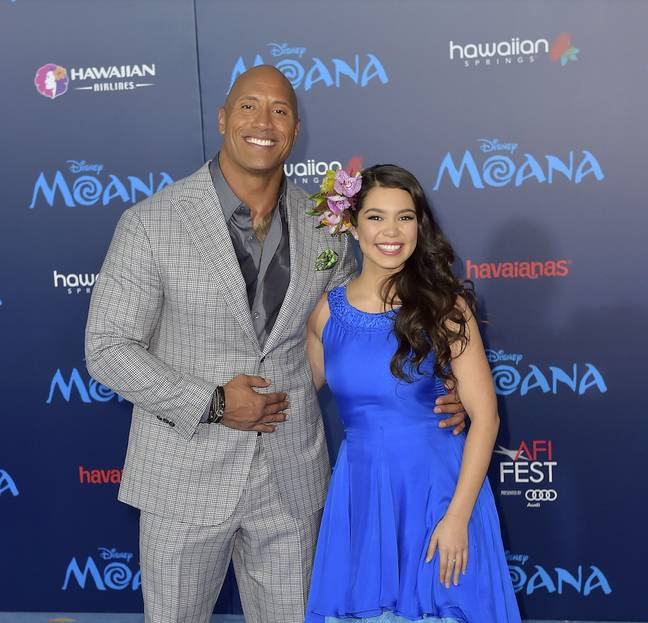 Auli'i Cravalho and Dwayne Johnson at the Moana premiere in 2016 (Credit: PA)