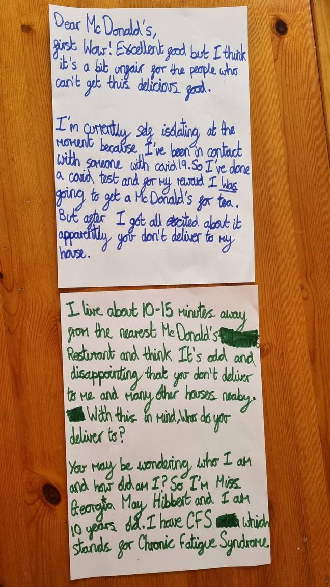 Georgia May Hibbert wrote the letter in felt pen (Credit: Kennedy)
