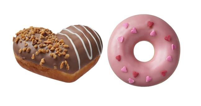 The Hazelnut Nutty Chocolatta Heart (left) is one of the brand new V-Day flavours (Credit: Krispy Kreme)