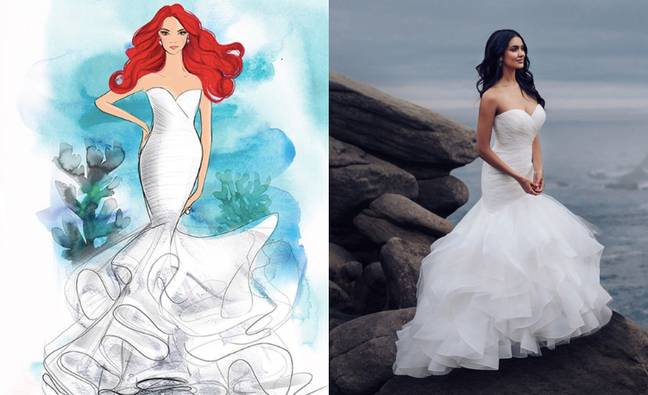 One of the Ariel dresses is mermaid cut with a ruffle train (Credit: Allure Bridal/Disney)