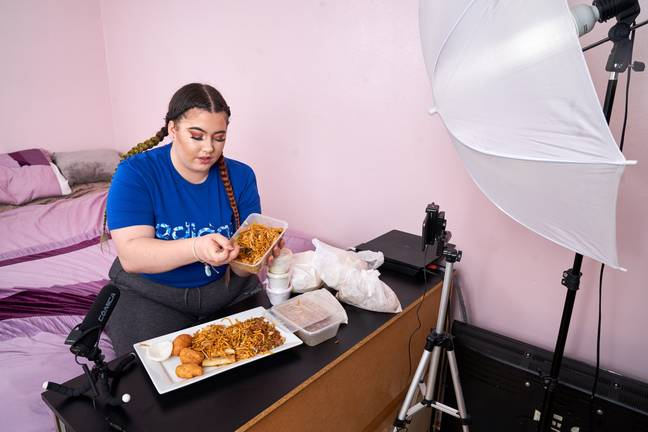 Charna's eating challenges are hugely popular on YouTube (Credit: Caters)