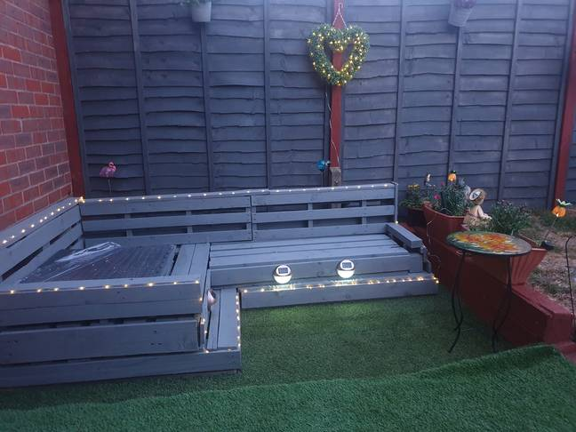 The final sofa is a striking blue garden feature and seriously spacious (Credit: Lorraine Lead)