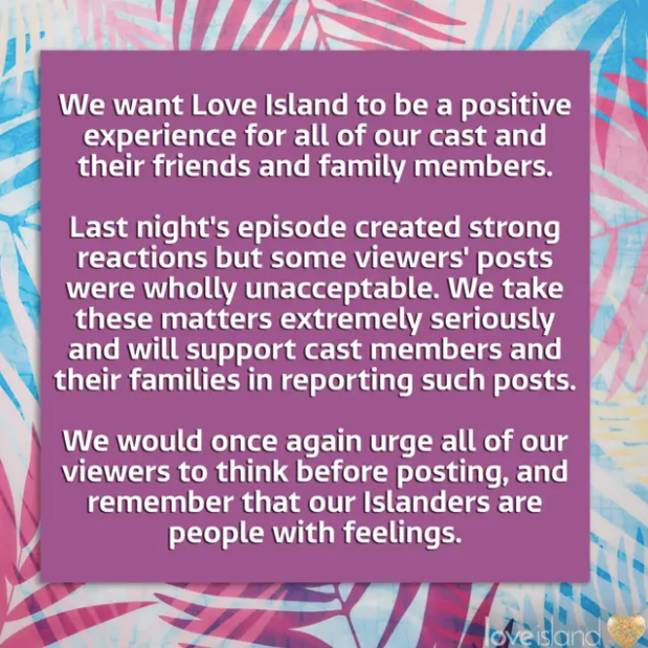 On Thursday evening, ITV took to Instagram with a statement (Credit: Instagram)