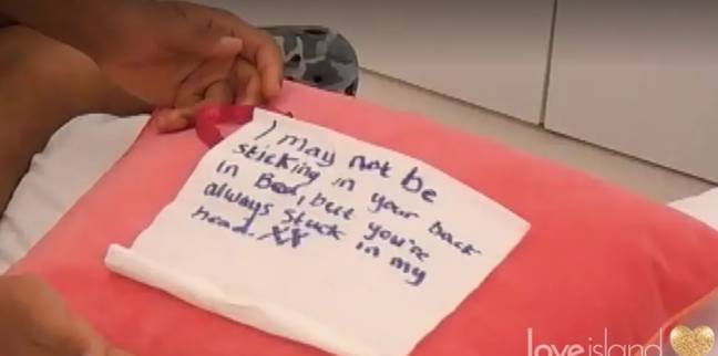 Liam's Creepy Note on Love Island This Evening