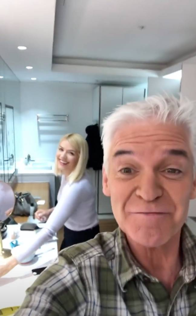 Holly could be seen doing her makeup in the background (Credit: Instagram/Phillip Schofield)