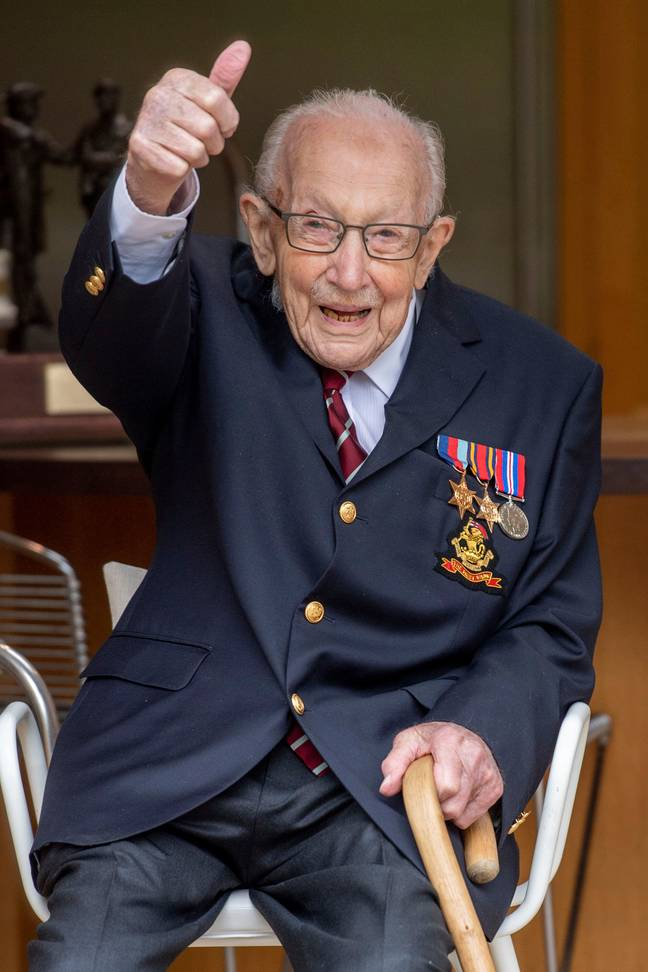 Captain Tom Moore was knighted for his services to the NHS over lockdown (Credit: PA)