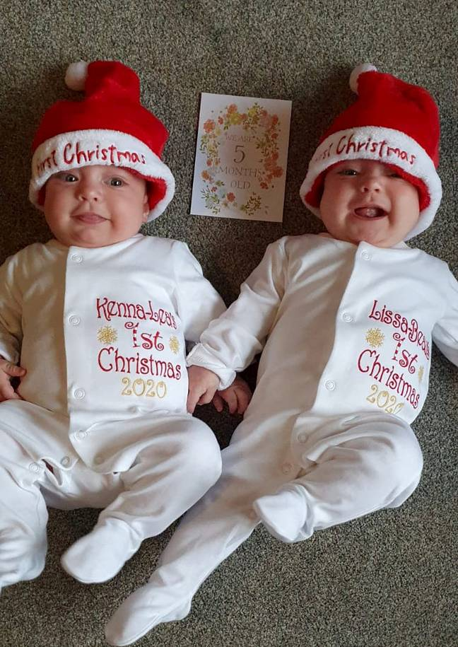 Now five months old, the twins are easing into life at home and will be enjoying their first Christmas with their family (Credit: SWNS)