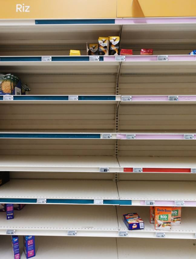 Supermarkets are running out of food and household goods (Credit: PA)