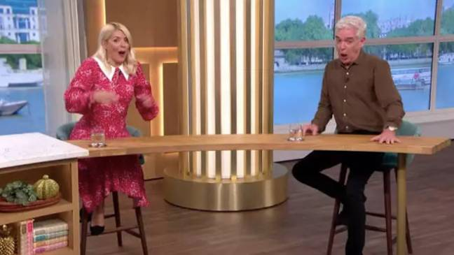 Holly and Phil couldn't contain their laughter when a nudist flashed his penis live on air (Credit: ITV)