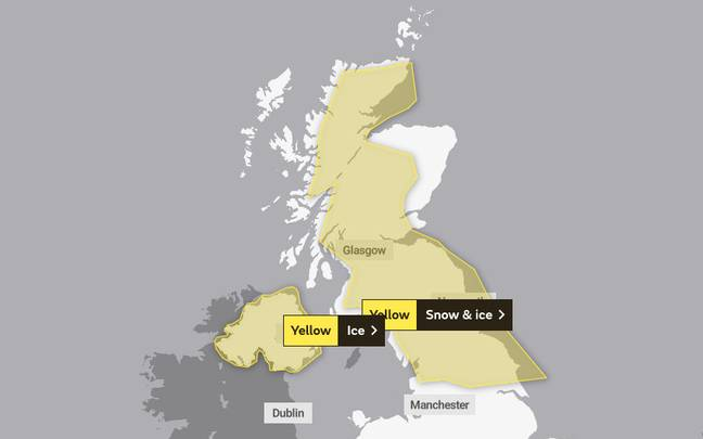 The yellow weather warnings have been issued for snow and ice (Credit: Met Office)