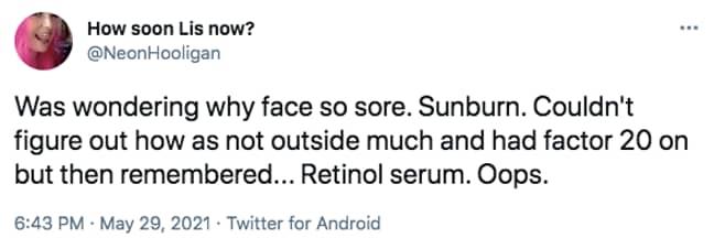 Women have noticed retinol can cause burns (Credit: Twitter)