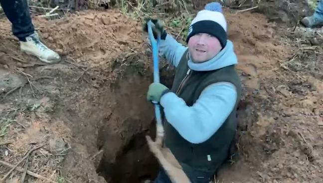 They started digging after spotting a rabbit hole (Credit: SWNS)