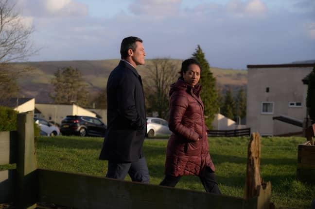 Alexandria Riley plays Ella Richards in The Pembrokeshire Murders alongside Luke Evans (Credit: ITV)