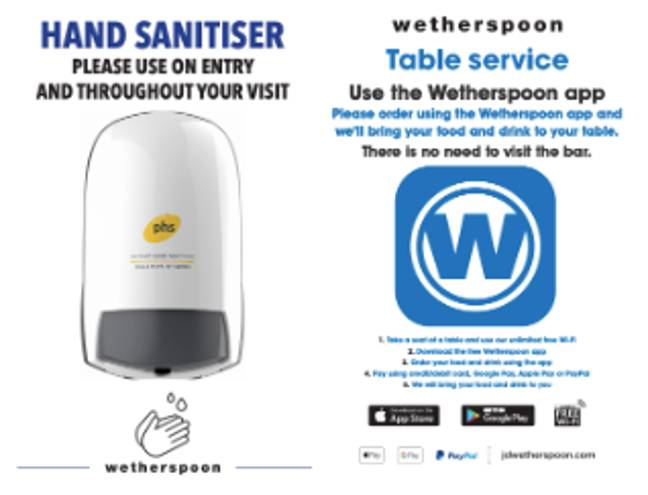 Posters will be on display throughout the pubs (Credit: Wetherspoon)