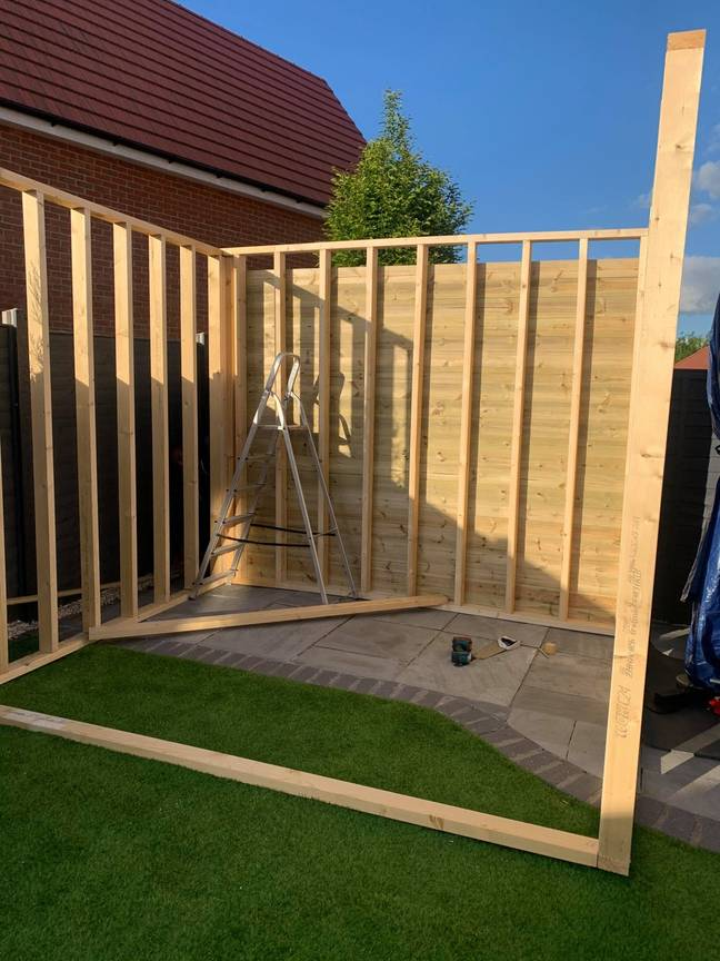 The space - which is measured to house Andy's gym equipment - begins to take shape (Credit: Latestdeals.co.uk)