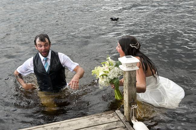 These weren't quite the wedding photographs the couple wanted... (Credit: SWNS)