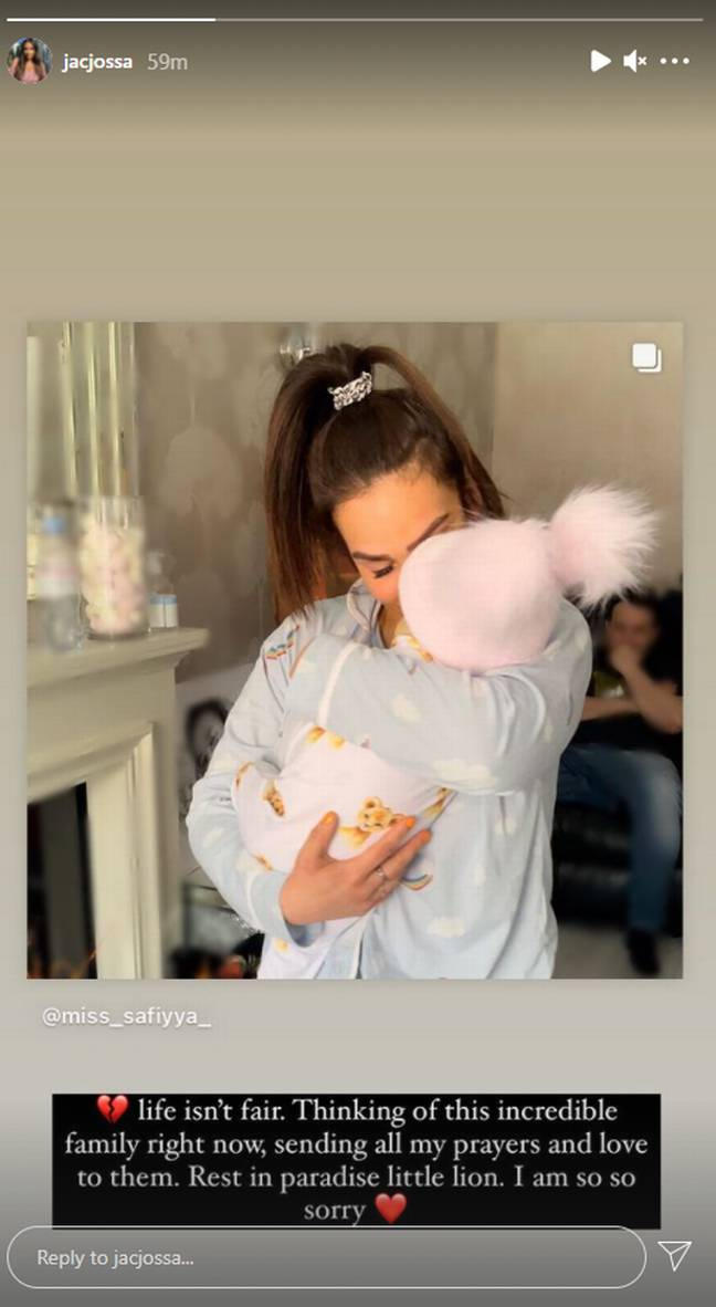 Jacqueline Jossa honoured the little one after the news was announced (Credit: Instagram)