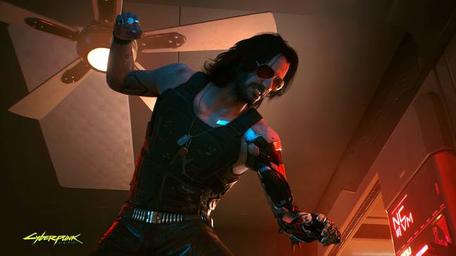 Keanu Reeves gets into the role of Johnny Silverhand (Credit: CD Projekt)