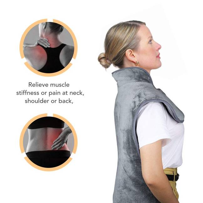 The heating pad also helps with neck, shoulder and back pain (Credit: Amazon)