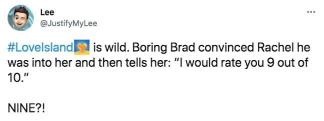 Brad really is punching with Rachel (Credit: Twitter)