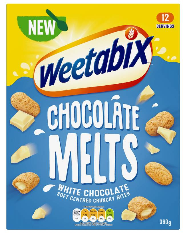 The Weetabix Melts come in two delicious flavours - milk chocolate and white chocolate (Credit: Weetabix)