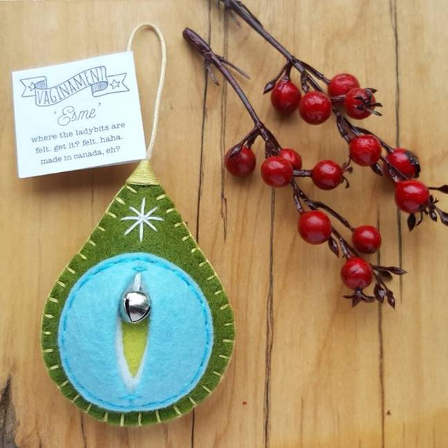The vaginaments are handmade with felt and have a little festive bell inside. (Credit: Etsy/FeltMelons)