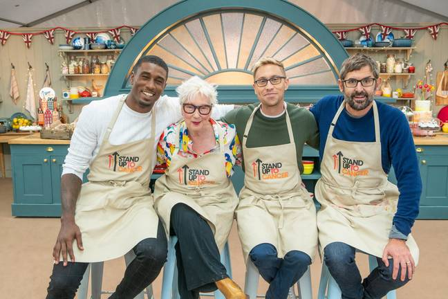 Louis and Ovie are joined by Russell Howard and Jenny Eclair (Credit: Channel 4)