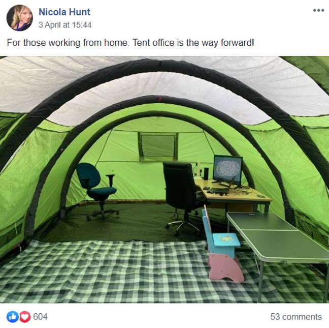 Nicola Hunt, an accountant from Gloucestershire, saw an opportunity to turn her family tent into an office studio. (Credit: Nicola Hunt / Facebook)